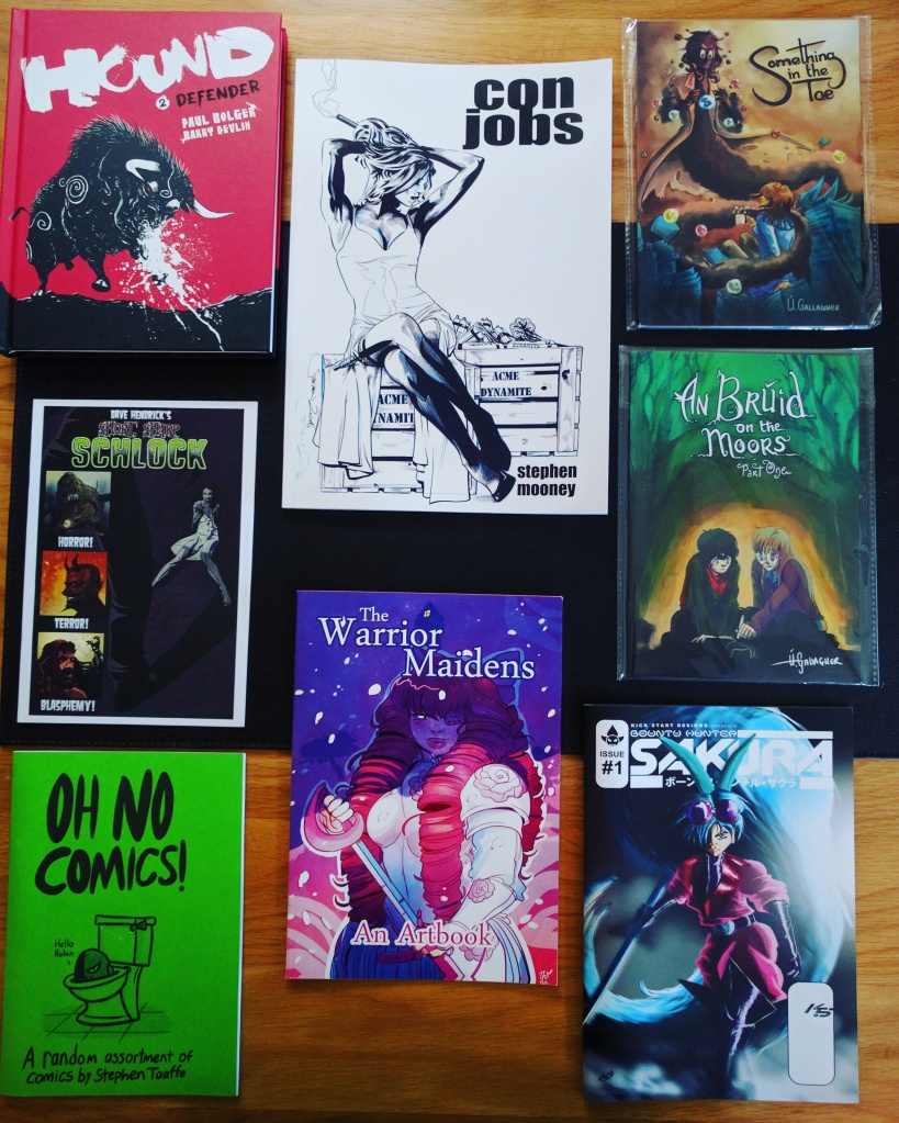 Hound 2, Con Jobs, Something in the Tae, Schlock, An Bruid on the Moors Part One, Oh No Comics!, The Warrior Maidens, Sakura #1