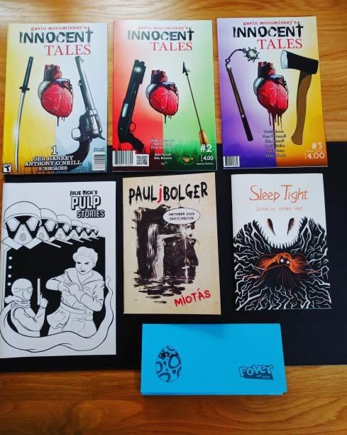 Innocent Tales #1-3, Pulp Stories, Paul J Bolger Inktober Sketchbook, Sleep Tight, Rover Was Here