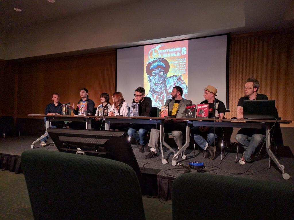Small Press Panel. L-R: Seamus Kavanagh, Eoin McAuley, Leann Hamilton, Kinga Korska, Keith Keane, Hugo Boylan, Paul Bolger, Charan Marcantonio